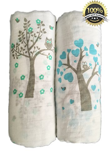 Muslin Swaddle Blankets 2 Pack – Seben Baby – 47″x 47″ – 100% Cotton – Tree Bird and Owl – Unisex for Boys or Girls