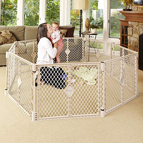 North States Superyard Indoor-Outdoor 8-Panel Play Yard: Safe play area anywhere – Folds with carrying strap for easy travel. Freestanding. 34.4 sq. ft. enclosure (26″ tall, Sand)
