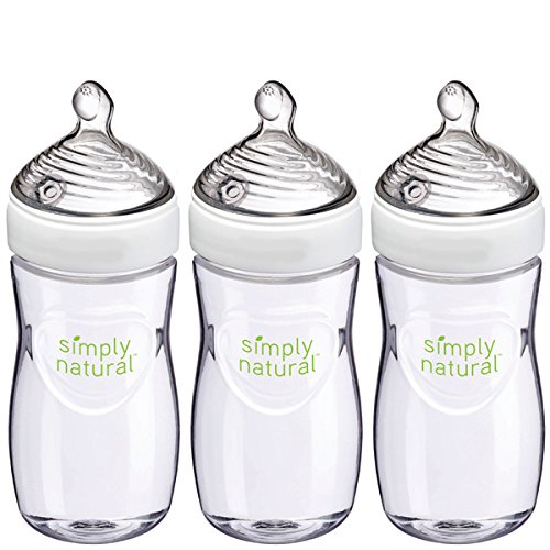 NUK Simply Natural Baby Bottle, Clear,  9 Ounce (Pack of 3)