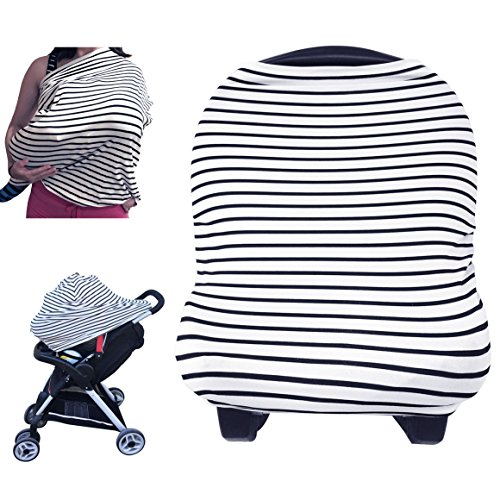 Nursing Cover – Breastfeeding Cover Carseat Canopy for Baby Infant, Car Seat Covers for Babies by YOOFOSS (Black)
