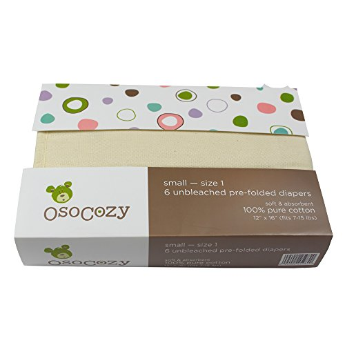OsoCozy – Prefolds Unbleached Cloth Diapers, Size 1(7-15lbs), 6 Pack – Soft, Absorbent and Durable 100% Indian Cotton Natural Infant Diapers – Highest Quality & Best-Selling Cloth Diapers Sold Online
