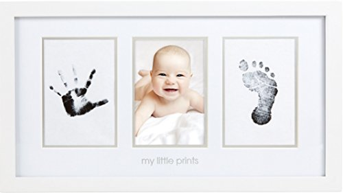 Pearhead Babyprints Newborn Baby Handprint and Footprint Photo Frame Kit with an Included Clean-Touch Ink Pad to Create Baby's Prints, A Perfect Baby Shower Gift