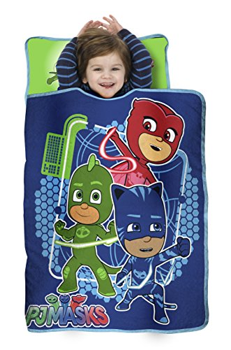 PJ Masks All Shout Horray Toddler Nap Mat – Includes Pillow and Fleece Blanket – Great for Boys and Girls Napping at Daycare, Preschool, Or Kindergarten – Fits Sleeping Toddlers and Young Children