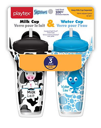 Playtex Sipsters Stage 3 Milk and Water Spill-Proof, Leak-Proof, Break-Proof Insulated Toddler Straw Sippy Cup Set, 9 Ounce – 2 Count