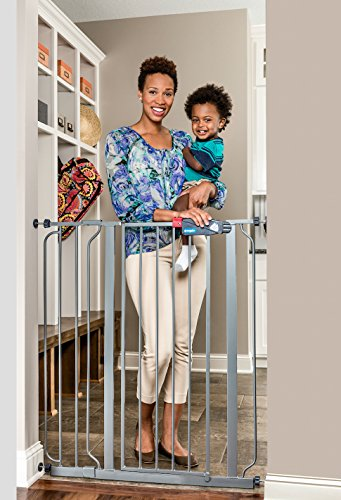 Regalo Easy Step Extra Tall Walk Thru Baby Gate, Bonus Kit, Includes 4-Inch Extension Kit, 4 Pack of Pressure Mount Kit and 4 Pack of Wall Mount Kit, Platinum