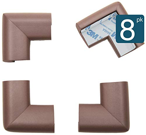 Roving Cove Baby Safety Corner Protector | Table Corner Guards Edge Protectors | Baby Caring Soft Corner Guards | Furniture Safety Bumper | Safe Corner Cushion | Pre-Taped | 8-Pc Coffee (Brown)