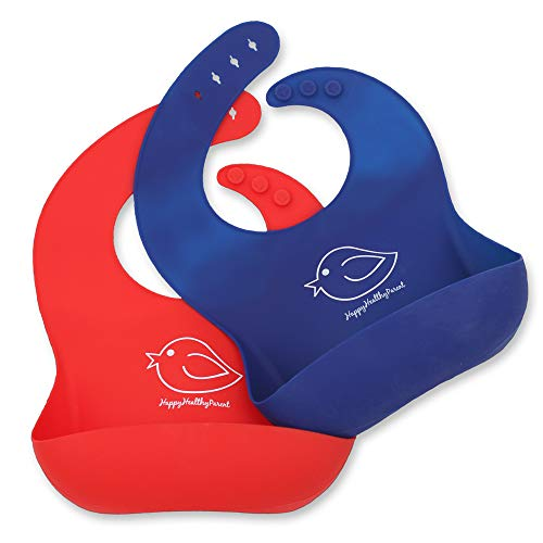 Silicone Baby Bibs Easily Wipe Clean – Comfortable Soft Waterproof Bib Keeps Stains Off, Set of 2 Colors (Red/Blue)