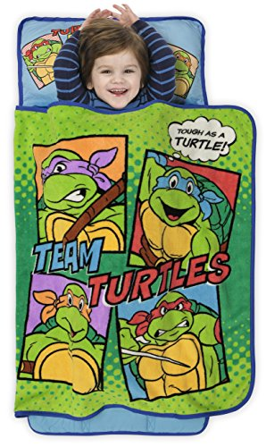 Teenage Mutant Ninja Turtles Toddler Nap Mat – Includes Pillow and Fleece Blanket – Great for Boys and Girls Napping at Daycare, Preschool, Or Kindergarten – Fits Sleeping Toddlers and Young Children