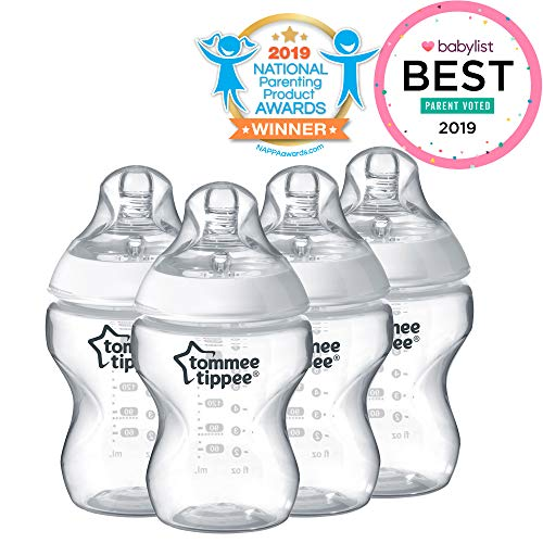 Tommee Tippee Closer to Nature Baby Bottle, Anti-Colic, Breast-like Nipple, BPA-Free – Slow Flow, 9 Ounce (4 Count)