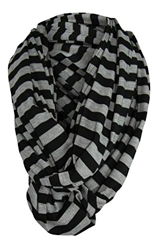 Wearable Infinity Nursing Cover for Breast-Feeding Moms by Tykes & Tails – Black & Gray Stripe Pattern. Multi-Use as Scarf, Burp Cloth, Changing Pad, or Blanket