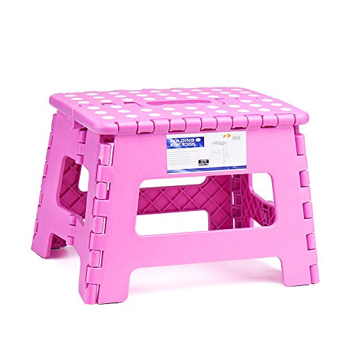 ACSTEP Acko 9Inch Folding Step Stool – The Lightweight Step Stool is Sturdy and Safe Enough for Kids. Opens Easy with One Flip. Great for Kitchen, Bathroom, Bedroom Pink