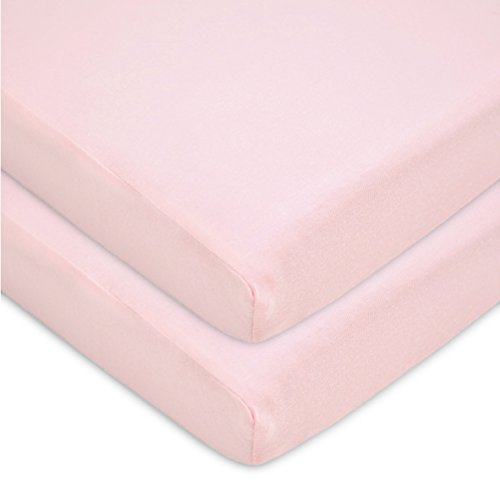 American Baby Company 100% Natural Cotton Value Jersey Knit Fitted Portable/Mini-Crib Sheet, Pink, Soft Breathable, for Girls, Pack of 2