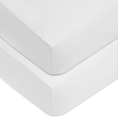 American Baby Company 2 Pack 100% Cotton Value Jersey Knit Fitted Crib Sheet for Standard Crib and Toddler Mattresses, White, for Boys and Girls