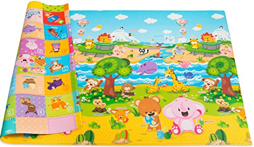Baby Care Play Mat Foam Floor Gym – Non-Toxic Non-Slip Reversible Waterproof, Pingko and Friends, Large