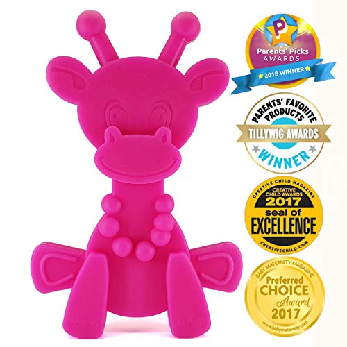 Baby Teething Toy Extraordinaire – Little Bambam Giraffe Teether Toys by Bambeado. Our BPA Free Teethers Help take The Stress Out of Teething, from Newborn Baby Through to Infant – Magenta