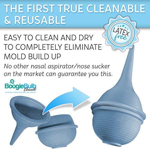 BoogieBulb Baby Nasal Aspirator and Booger Sucker for Newborns Toddlers & Adult – BPA Free – Blue 2 Ounce Bulb Syringe – Safe Nose Cleaner – Cleanable & Reusable Ear Syringe Nose Sucker