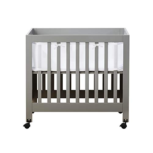 BreathableBaby Classic Breathable Mesh Mini Crib Liner, Patented, Safer for Baby, Anti-Bumper, Non-Padded – White