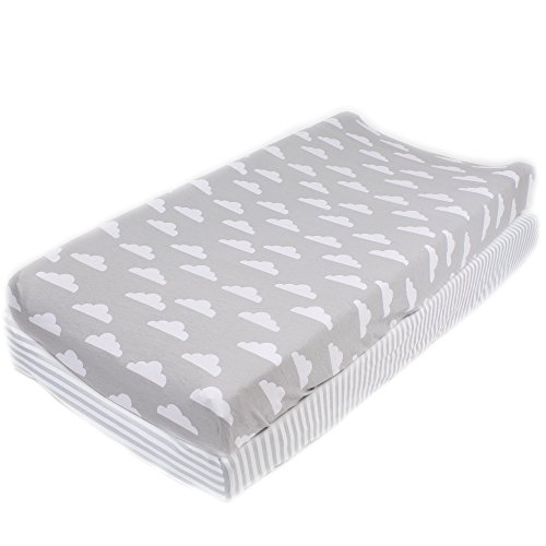 "Cotton Diaper Changing Pad Cover 2 Pack""Stripes & Clouds"" by Mumby"
