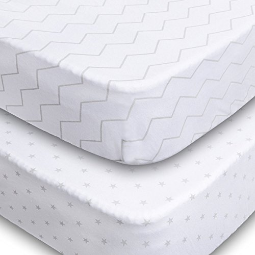 Jomolly Crib Sheets, 2 Pack Unisex Chevron and Stars Fitted Soft Jersey Cotton Bedding