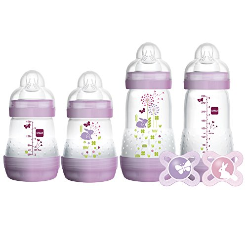 "MAM Newborn Essentials ""Feed & Soothe"" Set (6-Piece), Easy Start Anti-Colic Baby Bottles, 0-2 Month Pacifier, Baby Shower Gifts for Baby Girl, Purple"