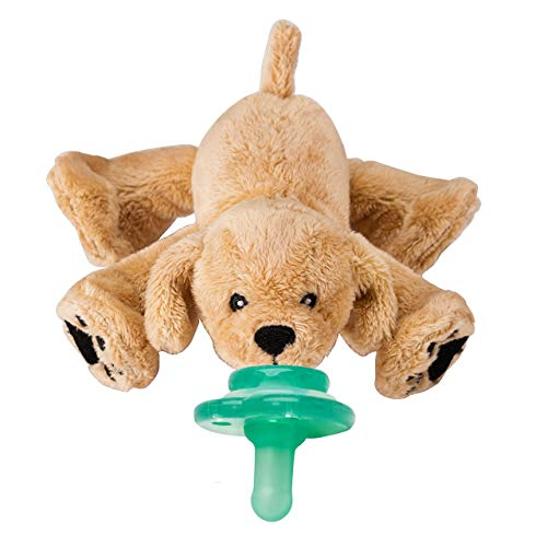 Nookums Paci-Plushies Buddies – Retriever Pacifier Holder – Plush Toy Includes Detachable Pacifier, Use with Multiple Brand Name Pacifiers