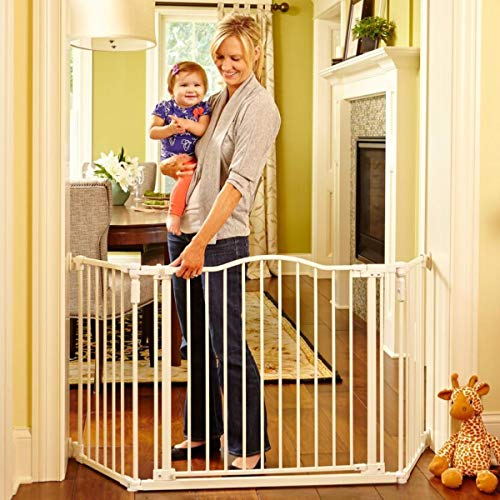 North States 72″ Wide Deluxe Décor Baby Gate: Provides safety in extra-wide spaces with added one-hand functionality. Hardware mount. Fits 38.3″-72″ wide (30″ tall, Soft White)