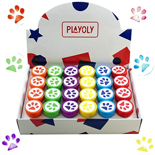 Playoly Paw Print Stamps – Non-Toxic – 24 Stamps Included – Assorted Colors