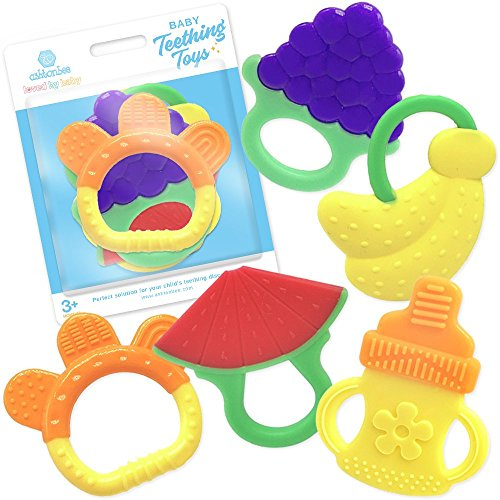 Silicone Baby Teething Toys 5 Pack – BPA Free Natural Organic Freezer Safe Teether Sensory Toy for 3 to 12 Months Babies, Infant, Toddler