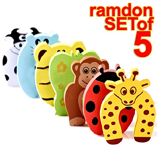The Wolf Moon Children Safety No Finger Pinch Foam Door Stopper. Colorful Cartoon Animal Cushion – Ramdom Bundled Baby Child Kid Cushiony Finger Hand Safety, Curve Shaped Door Stop Guard 5 PCS Set