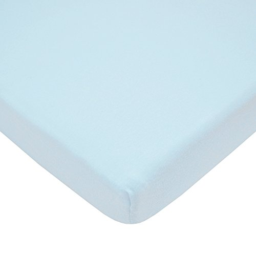 TL Care 100% Natural Cotton Value Jersey Knit Fitted Portable/Mini-Crib Sheet, Blue, Soft Breathable, for Boys and Girls