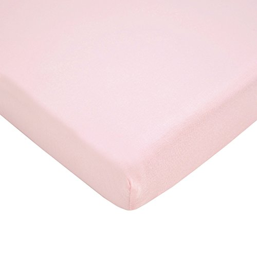 TL Care 100% Natural Cotton Value Jersey Knit Fitted Portable/Mini-Crib Sheet, Pink, Soft Breathable, for Girls