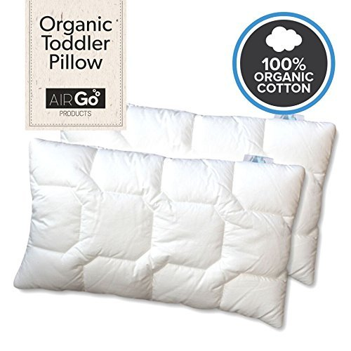 Toddler Pillow Baby Pillows – Soft Cotton Cover – Nursery Bedding Designed by Chiropractor Mom. Help Prevent Flat Head- Delicate Microfiber – Machine Wash and Dry. Small – Pillowcase – Kids Travel