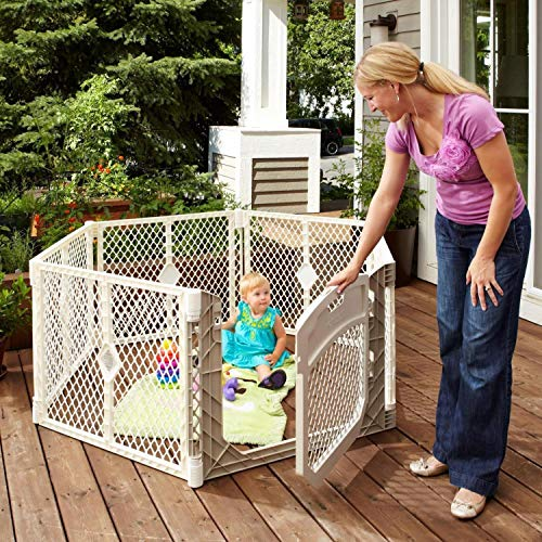Toddleroo by North States Superyard Ultimate 6-Panel Play Yard:Safe Play Area for Indoors or Outdoors.Folds up with Carrying Strap for Easy Travel.Freestanding.18.5 sq.ft. Enclosure (26″ Tall, Ivory)