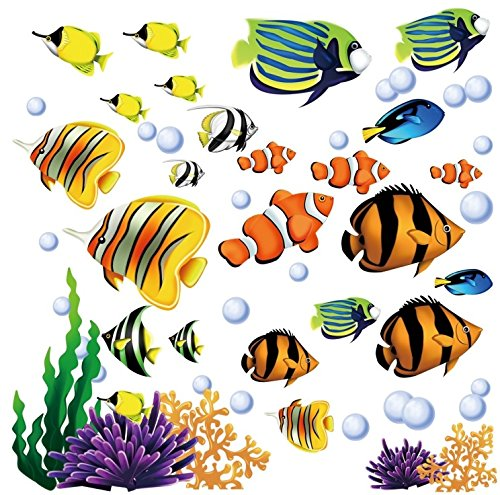 Under the Sea Fish & Coral Reef Decorative Peel and Stick Wall Sticker Decals