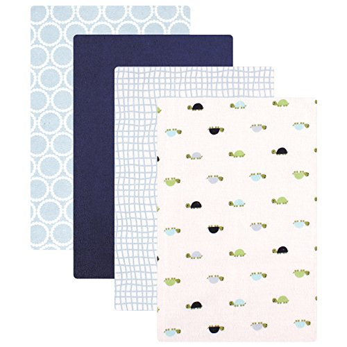 Luvable Friends Unisex Baby Cotton Flannel Receiving Blankets, Turtle 4-Pack, One Size