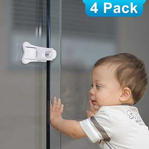 Adoric 4-Pack Sliding Door Locks for Baby Safety, Childproof Lock for Sliding Closet Cupboard Bathroom Kitchen Doors Windows, No Tools Needed, White