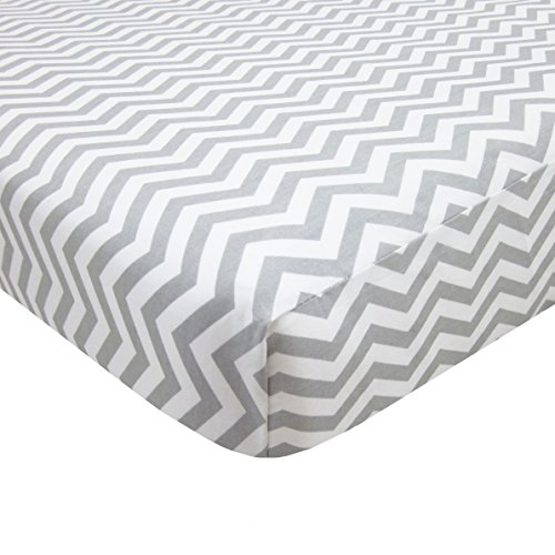 American Baby Company 100% Natural Cotton Percale Fitted Portable/Mini Crib Sheet, Grey Zigzag, Soft Breathable, for Boys and Girls