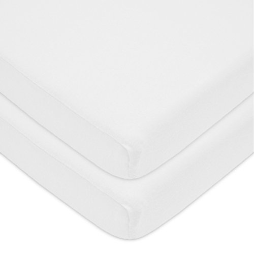 American Baby Company 100% Natural Cotton Value Jersey Knit Fitted Portable/Mini-Crib Sheet, White, Soft Breathable, for Boys and Girls, Pack of 2