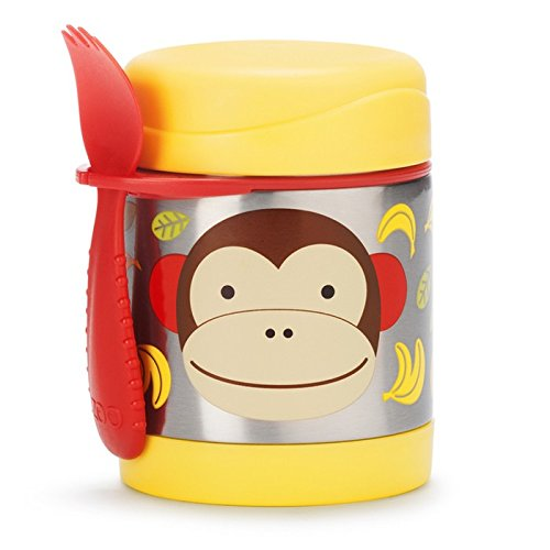 Insulated Food Jar and Spork Set For Baby and Toddlers, Stainless Steel, Monkey