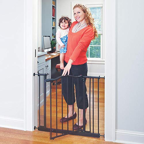 Toddleroo by North States 38.25″ wide Portico Arch Baby Gate: Decorative heavy-duty metal safety gate with one-hand operation. Pressure Mount. Fits 28.25″- 38.25″ wide (28.5″ tall, Bronze)